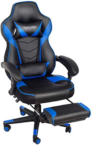 ELECWISH Racing Video Gaming Chair High Back Large Size Ergonomic Adjustable Swivel Reclining Executive Computer Chair with Headrest and Lumbar Support PU Leather Executive Office Chair