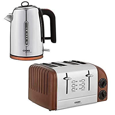 Cooks Professional Electric Kettle & Toaster Set, 3000W 1.75L Capacity 4 Slice Extra Wide Slots for Home & Kitchen