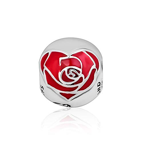 LISHOU Se Adapta A La Pulsera Pandora Argent Charm 925 Sterling Silver Genuine Red Blooming Rose Flower Charms Beads para DIY Women Jewelry Making