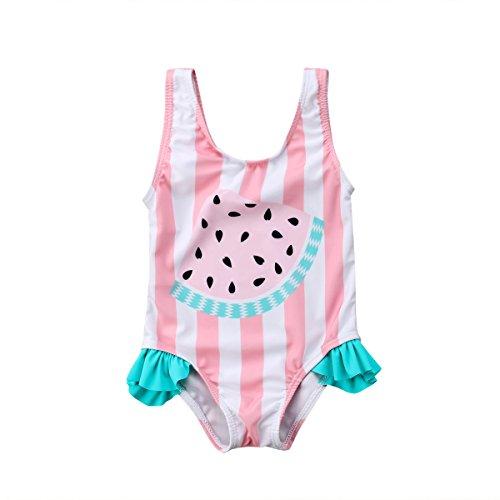 Geagodelia - Traje de baño para niña de verano con rayas blancas y rosas con impresión de sandía sin mangas Rosa 12-18 meses