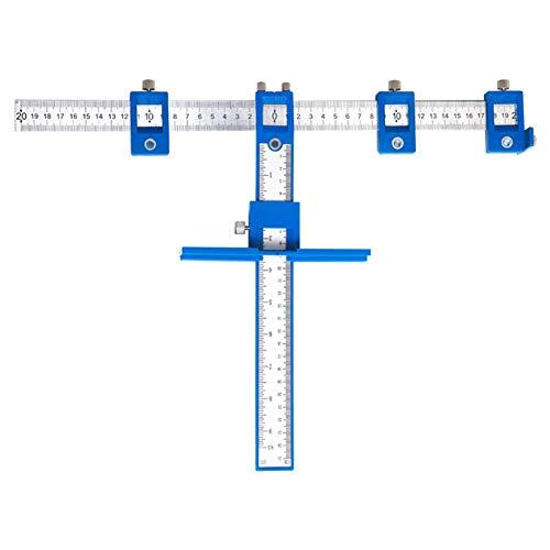 HUXUAN - Localizador de perforaciones ajustable, guía de perforación, gabinete, funda de gabinete, herramienta de medición con agujero de perforación de madera para manijas de puerta