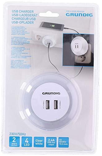 Grundig oplader 2 x USB 2,4 A met nachtlampje wit