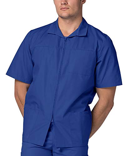 Adar Uniforms Adar Universal Scrubs For Men - Zippered Short Sleeved Scrub Jacket - 607 - Royal Blue - S