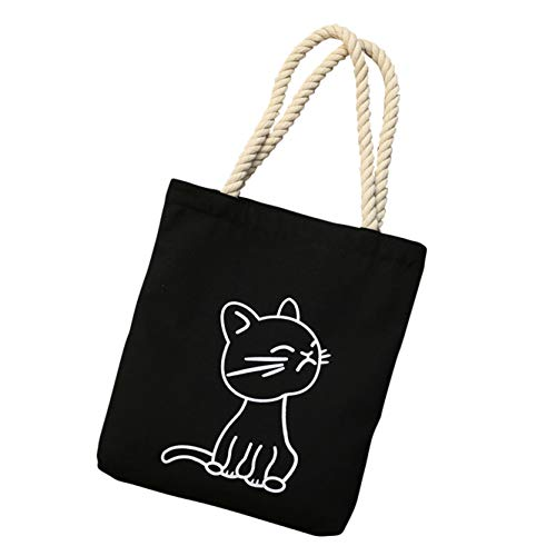 Zipper Canvas Tote Bag with Inner Pocket, Portable and Ecofriendly, Cat-black, 14.6' x 13.6' x 2?