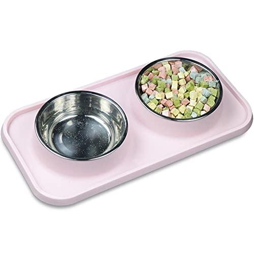 LEPSJGC Cuenco para Gatos y Mascotas, Cuenco Doble Antideslizante para Perros con tapete de Silicona, comedero para Alimentos para Perros, Cuenco para Perros, Gatos, Plato de Comida para Cachorros