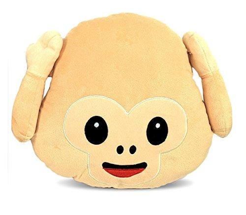 347621 Almohada mono emoticon No veo - No oigo - No hablo - Sonrisa 36 cm - No oigo