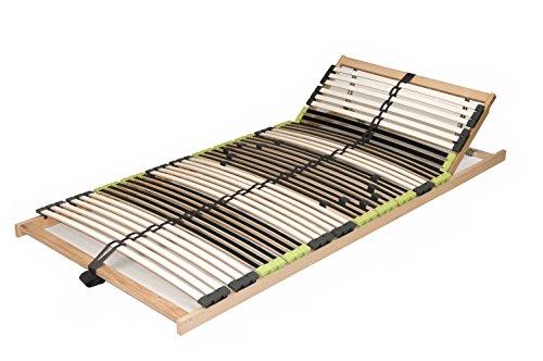DaMi Lattenrost Relax Zerlegt 90 x 200 cm - 7 Zonen Lattenrahmen Aus Buche Mit 6-Fach Härteverstellung - Kopfteil verstellbar