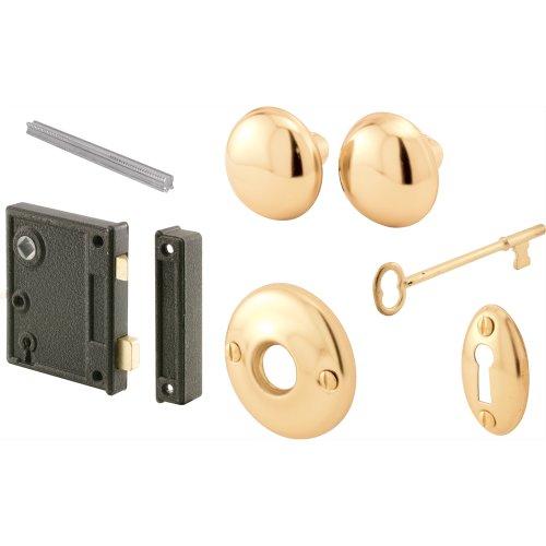 "Prime-Line E 2437 Vertical Trim Vintage Lock Set – Cast Steel Construction, Brass Plated Knobs, Skeleton Key Locking System – 2-1/2"" Backset, Surface Mounted on Right-Hand Swing-in Interior Doors"