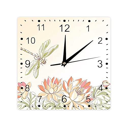 Lotus Flower Field Winged Bug Flying Oriental Blooms Imprimir Color Cuadrado Morden Reloj Slient