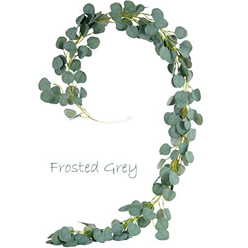 iBUY BEST Eucalyptus Garland Artificial Greenery Faux Eucalyptus Fake Plant Leaves Vines Hanging for Wedding Party Home Wall Decor (6 Ft Frosted Grey Green)