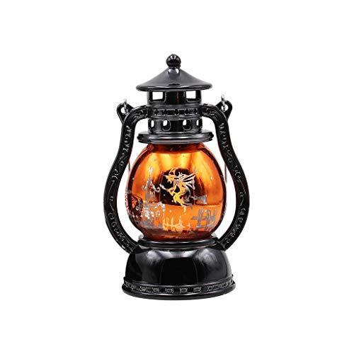 Smniao Halloween Lichterkette Kürbis Laterne Lichterkette Draußen Batterie LED Hängelampe Nachtlicht Bar Atmosphäre Dekor Requisiten 16x7CM (B)