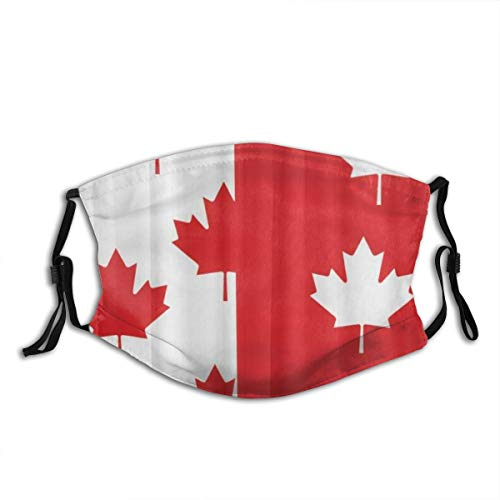 MIGAGA White and Red Canada Flag Maple Dust Washable Reusable Filter and Reusable Mouth Warm Windproof Cotton Face
