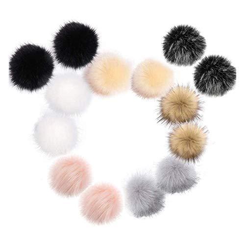 AMACOAM Fellbommel für Mützen Kunstfell Pompon 14 Stück Künstlicher Haarball Nachahmung Fuchs Waschbär Haarkugel Anhänger DIY 10cm für Mützen Schuhe Schals Taschen Schlüsselanhänger 7 Farben