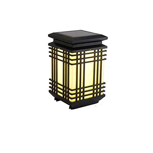 Pilar de lujo lámpara solar Electricidad de Doble Uso de la lámpara del poste al aire libre del acero inoxidable de imitación de columna de las luces LED de tres colores de Atenuación de las luces