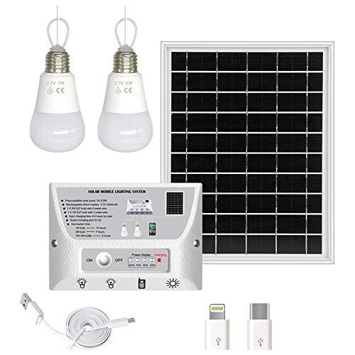 Sistema de iluminación Solar portátil Impermeable Panel Solar de 5.5W Bombillas LED de 1W y 2W Controlador de 5000mAh con Puerto de Carga de teléfono Compatible con Android/iOS/Tipo-C Lámparas de