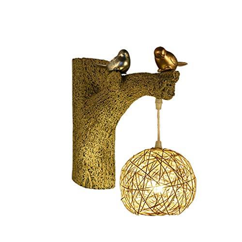 OMGPFR wandlamp, Chinese stijl, kunsthars, vogel wandlamp, creatief, nachtlampje, retro, vintage, industrieel licht voor slaapkamer, woonkamer, bar, café, wandlamp