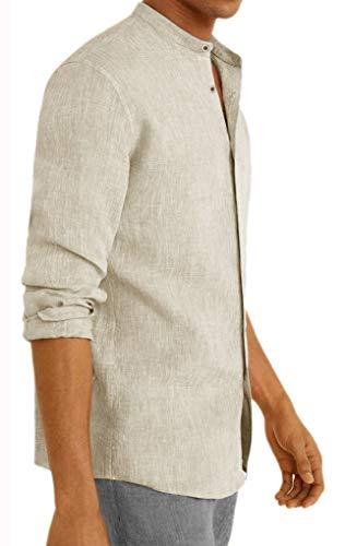 Camicia Uomo in Lino Coreana Slim Fit Manica Lunga (Beige, XXL)