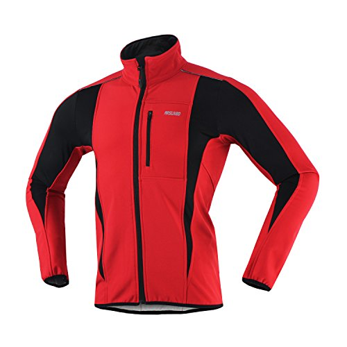 ARSUXEO Winter Warm UP Thermal Softshell Cycling Jacket Windproof Waterproof Bicycle MTB Mountain Bike Clothes 15-K Red Size Large