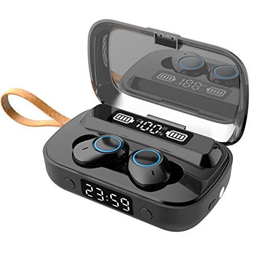 Auriculares Bluetooth 5.1, auténticos inalámbricos en el oído con pantalla LED, 80 horas, linterna, reloj, carga para teléfono, IPX5, impermeable, intrauricular A6