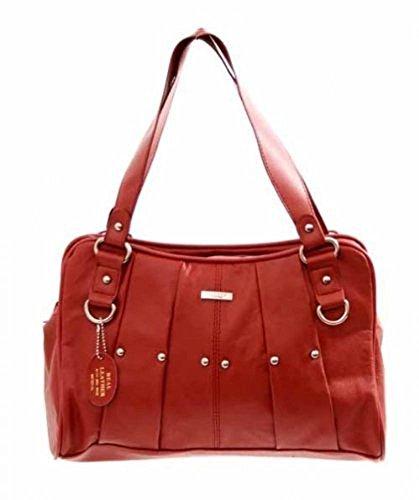 Lorenz - Bolso de tela de cuero para mujer Medium, color rojo, talla 35x12.5x23 (Ropa)