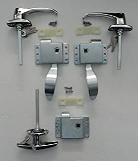 Vintage Technologies Rv Teardrop Trailer Camper Front Door Handles Latch Kit W/Rear T Slam Handle Latch Kit