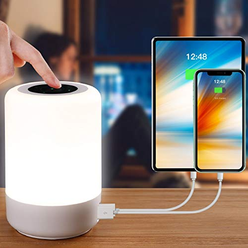 Table Lamp-Touch Sensor Lamp for Kids Bedroom, Rechargeable Dimmable Table Bedside Lamps with White Light + RGB Color Changing for Rea