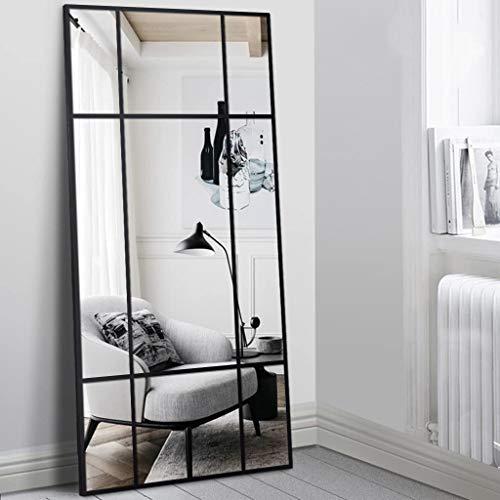 Standspiegel Ganzkörperspiegel, Schwarz, aus Metall – Rechteckiger Ankleidespiegel | [H 170* B 80* T 3cm] | Designed in Dänemark | Garderobenspiegel groß, lang, stehend | vertikal/horizontal