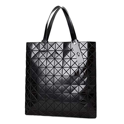 Bolso De Diamante Geométrico Bolso Ligero Bolso Láser Bolso De Viaje Bolsa De Hombro(Size:39 * 1 * 40cm,Color:Negro)