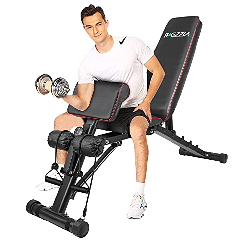 """Product Image 1: Bigzzia Weight Bench 61"""", Adjustable Strength Training Bench for Full Body Workout-Hyper Back Extension, Roman Chair, Incline Decline Bench, Dumbbells Bench with Widen Seat"""