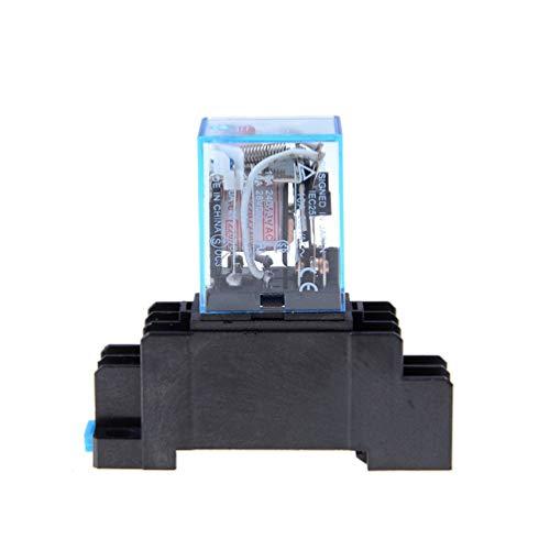 Kinshops AC 220V Bobina Relé de Potencia LY2NJ DPDT 8 Pines PTF08A JQX-13F con Base de zócalo Interruptor de módulo electromagnético Micro Micro electrónico Mini, Negro