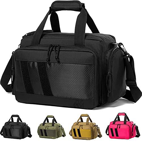 MERALIAN Range Bag -Tactical Gun Range Bag for Handguns,Pistols and Ammo.Padded Shooting Range Duffle Bag for Hunting Shooting Range Sport. (Black)