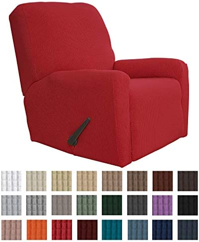 Best Easy-Going Recliner Stretch Sofa Slipcover Sofa Cover 4-Pieces Furniture Protector Couch Soft with E