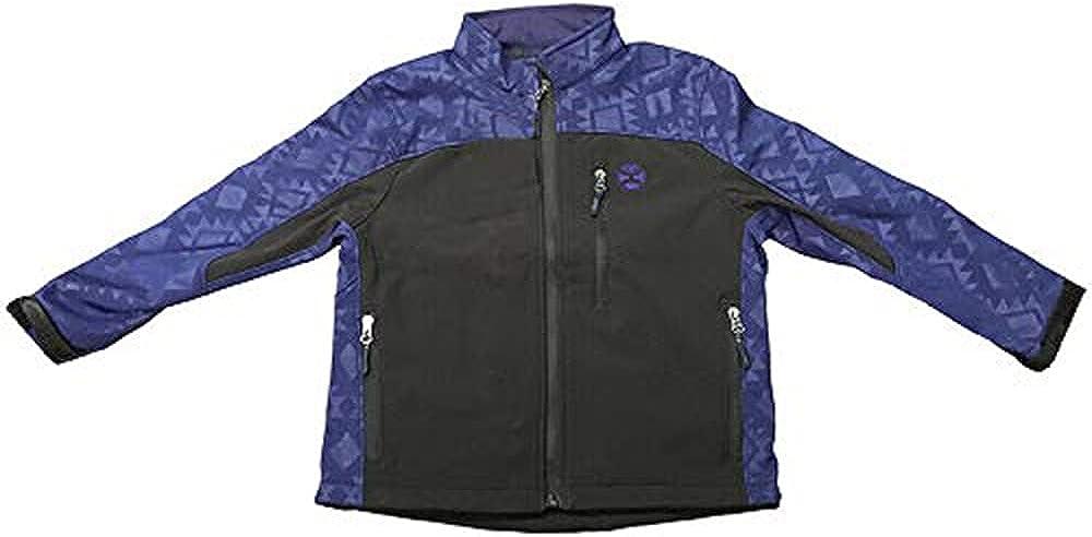 HOOey Youth Softshell Jacket, Black w/Royal Blue Texture
