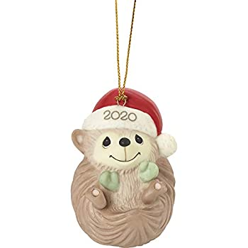 Precious Moments 201009 Sending Hedge Hugs 2020 Dated Animal Bisque Porcelain Ornament Multicolored
