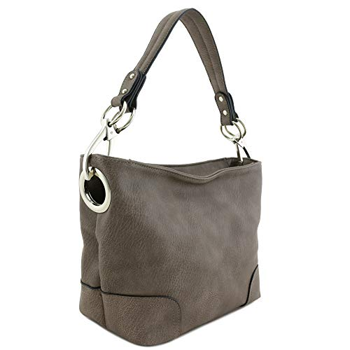 Hobo Shoulder Bag with Snap Hook Hardware Small (Light Coffee)
