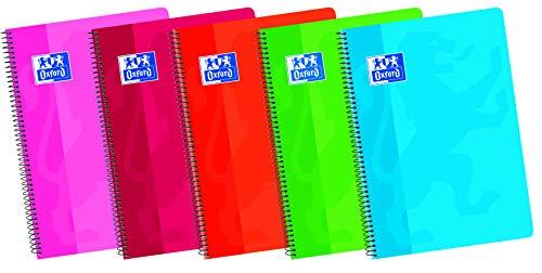Oxford, Cuadernos A5 hojas blancas, tapa blanda, 80 hojas, paquete 5 unidades, colores surtidos