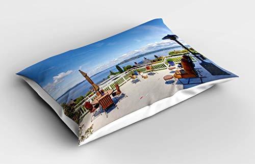 ABAKUHAUS Paisaje Funda de Almohada, Casa Terraza Balcón, Decorativa de Suave Microfibra Estampada Lavable, 80 cm x 40 cm, Multicolor
