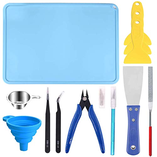 Youmile Resin 3D Printer Tool Kit Clean Basic Tools With Plier, File, Tweezer, Trimmer Pen, Resin Filter, Scraper, Plastic Remove Tool, Silicone Mat For SLA DLP LCD 3D Printer Accessories