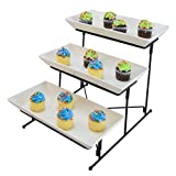 3 Tier Serving Tray Cake Stand Three Tiered Dessert Tray Food Server Display Rack White Pl...