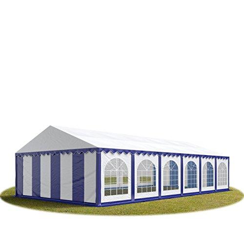 TOOLPORT Festzelt Partyzelt 6x12 m Premium, hochwertige ca. 500g/m² PVC Plane in blau-weiß 100% wasserdicht mit Bodenrahmen