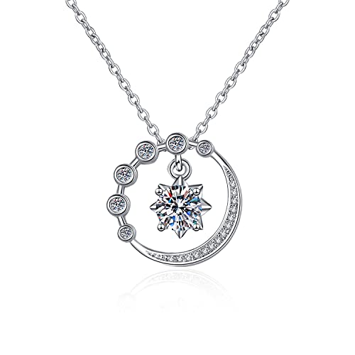 Compromiso de boda romántica de moda Diamante Circonio cúbico de moda Regalo de la luna estrella colgante collar