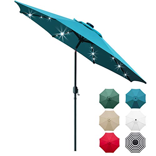 Sunnyglade 9' Solar 24 LED Lighted Patio Umbrella with 8 Ribs/Tilt Adjustment and Crank Lift System (Teal Blue)