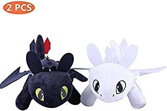 Honeytoy 2 PCS/Set How to Train Your Dragon 3 Toothless Light & Night Fury Soft Toy Features 13.77'' (35cm) Plush for Children Dragon Fans (9.8'')