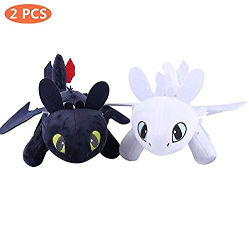 Honeytoy Pack 2 Dragons, como Entrenar a tu dragón - Peluches Desdentado y Furia Luminosa (Toothless y Light Fury) Color Negro y Blanco Calidad Super Soft(25cm)