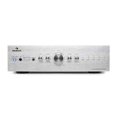 AUNA AV2-CD708 - Amplificatore Hi Fi , 600 W Max , 5 Ingressi RCA , Equalizzatore a 3 Bande , Telecomando , Pannello Frontale in Alluminio , Argento