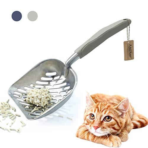 Andiker Katzenstreuschaufel aus Metall, langlebig, groß, mit ergonomischem langem Griff und großen Löchern für Haustierstreu, einfach zu reinigen