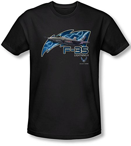 Air Force - - La F35 pour hommes T-shirt Slim, Large, Black