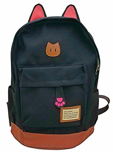 AM Landen Black Super Cute CAT Ears Backpack School Bag Travel Backpack (Large)