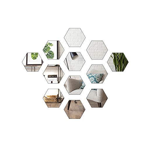 Hottong Self Adhesive Mirror Wall Stickers DIY Flexible Plastic Hexagon Acrylic Non Glass Mirror Sticker Decals for Home Living Room Bedroom Decorr(12pcs, L-Hexagon)