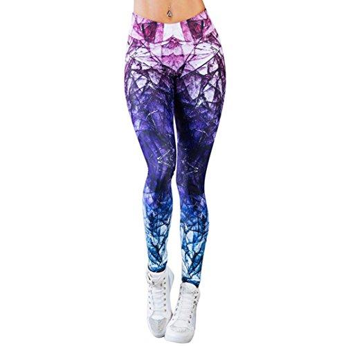 Bedruckte Yoga LeggingsSHOBDW Frauen Sport Gym Yoga Workout Mid Waist Running Hosen Fitness elastische Leggings (S, Lila)